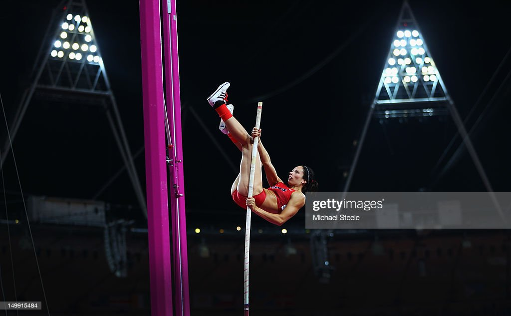 Jennifer Suhr of the United States competes in the Women's Pole Vault final on Day 10 of the London 2012 Olympic Games at the Olympic Stadium on August 6, 2012 in London, England.