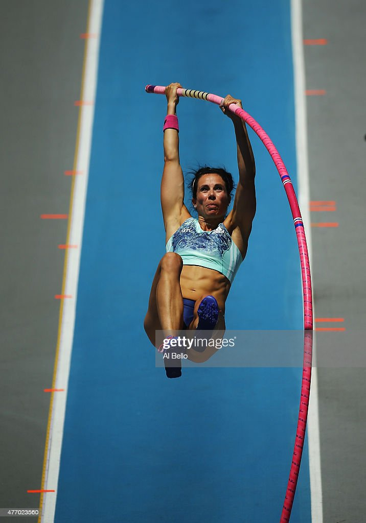 Jennifer Suhr of the USA performs in the womens pole vault during the Adidas Grand Prix at Icahn Stadium on Randalls Island on June 13, 2015 in New York City.