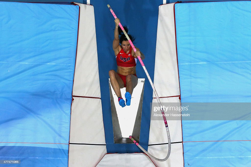 Jennifer Suhr of USA competes during the Women's Pole Vault final during day three of the IAAF World Indoor Championships at Ergo Arena on March 9, 2014 in Sopot, Poland.