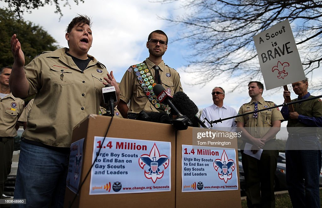 Jennifer Tyrrell, former Cub Scout Den Mom, and Will Oliver, Eagle Scout, address the media after delivering boxes containing 1.4 million signatures urging the Boy Scouts of America to reverse the organization's ban on LGBT Scouts on February 4, 2013 in Irving, Texas. The BSA national council announced they were considering to leave the decision of inclusion of gays to the local unit level. U.S. President Barack Obama urged the organization to end a ban on gays.