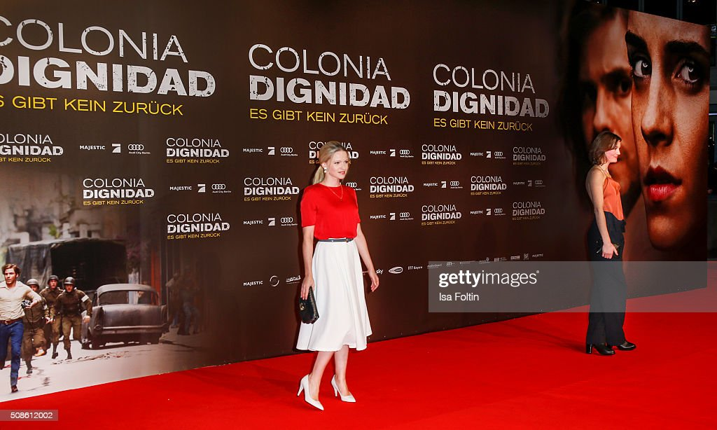 Jennifer Ulrich and Vicky Krieps attend the 'Colonia Dignidad - Es gibt kein zurueck' Berlin Premiere on February 05, 2016 in Berlin, Germany.