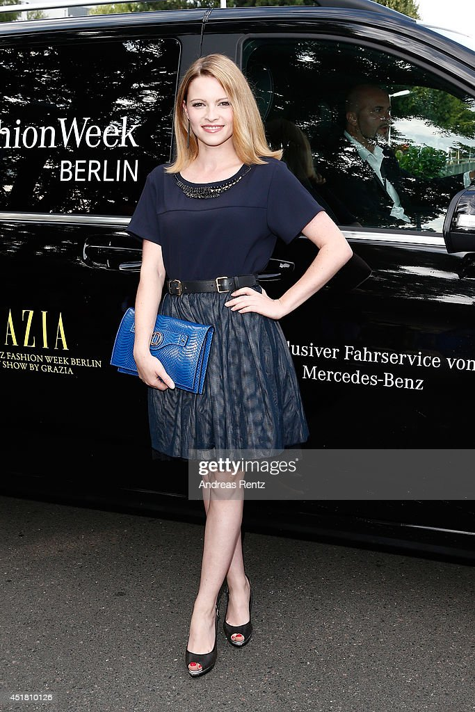 Jennifer Ulrich arrives for the Opening Night by Grazia fashion show during the Mercedes-Benz Fashion Week Spring/Summer 2015 at Erika Hess Eisstadion on July 7, 2014 in Berlin, Germany.