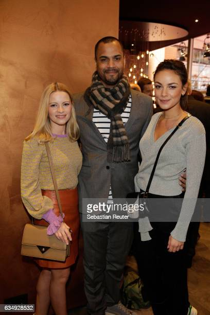 Jennifer Ulrich Patrice Bouedibel and Janina Uhse attend the Audi Berlinale Brunch during the 67th Berlinale International Film Festival on February...