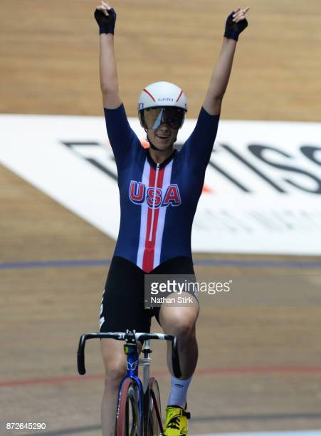 Jennifer Valente of United States celebrates winning the Womens Omnium during the TISSOT UCI Track Cycling World Cup at National Cycling Centre on...