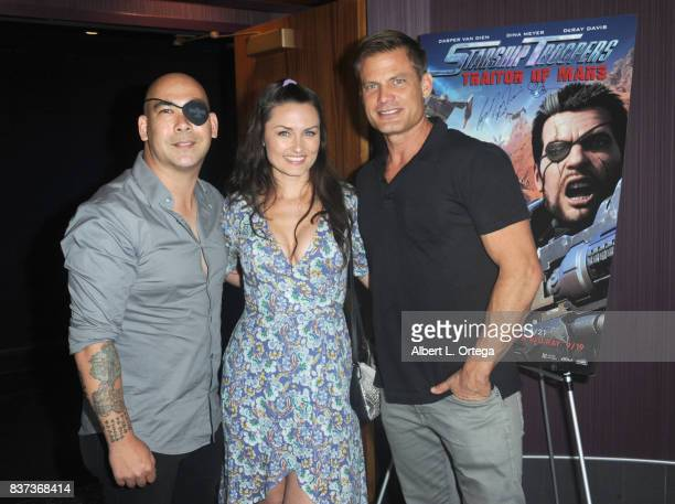 Jennifer Wenger and Casper Van Dien with fan at the 'Starship Troopers Traitor Of Mars' Q A and Meet And Greet held at Regal 14 at LA Live Downtown...
