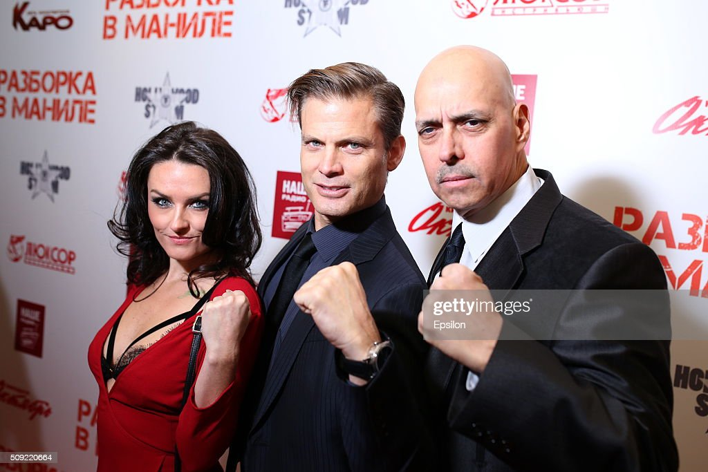 Jennifer Wenger, Casper Van Dien and Robert Madrid attend 'Showdown in Manila' premiere in October cinema hall on February 9, 2016 in Moscow, Russia.