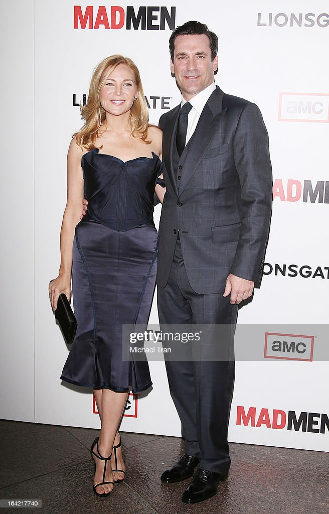 <a gi-track='captionPersonalityLinkClicked' href=/galleries/search?phrase=Jennifer+Westfeldt&family=editorial&specificpeople=228494 ng-click='$event.stopPropagation()'>Jennifer Westfeldt</a> and <a gi-track='captionPersonalityLinkClicked' href=/galleries/search?phrase=Jon+Hamm&family=editorial&specificpeople=3027367 ng-click='$event.stopPropagation()'>Jon Hamm</a> arrive at AMC's 'Mad Men' season 6 premiere held at DGA Theater on March 20, 2013 in Los Angeles, California.