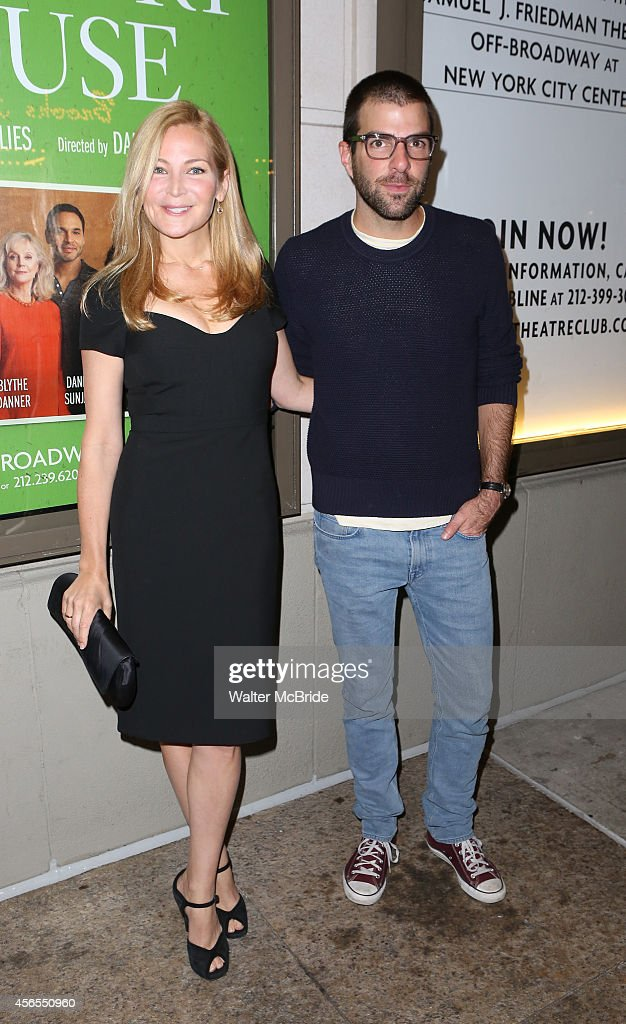 Jennifer Westfeldt and Zachary Quinto attend the Broadway Opening Night performance of 'The Country House' at the Samuel J Friedman Theatre on...