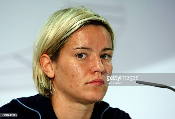 Jennifer Zietz of Potsdam looks on during a press conference prior to the German cup final at the Olympiastadion on May 29 2009 in Berlin Germany...