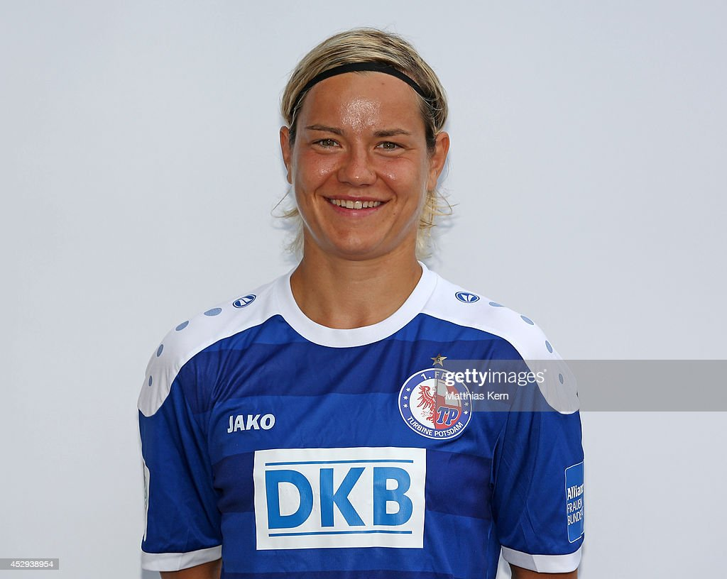Jennifer Zietz poses during the 1.FFC Turbine Potsdam team presentation at Stadion am Luftschiffhafen on July 30, 2014 in Potsdam, Germany.