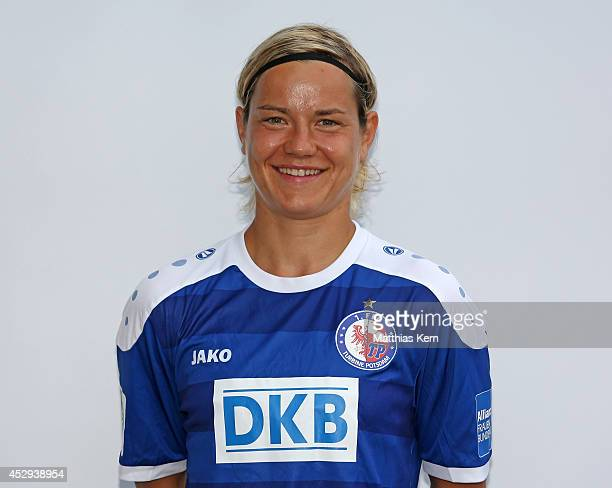 Jennifer Zietz poses during the 1FFC Turbine Potsdam team presentation at Stadion am Luftschiffhafen on July 30 2014 in Potsdam Germany