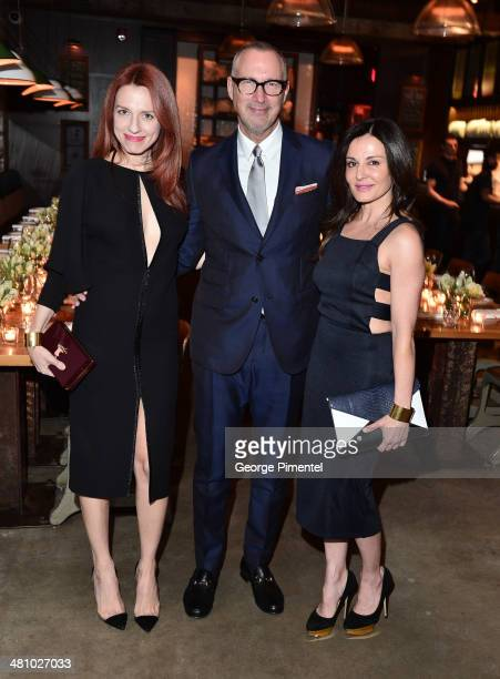 Jennifer Zuccarini Edward Menicheschi and Janet Zuccarini attend the Vanity Fair And Gucci Private Dinner at Gusto 101 on March 27 2014 in Toronto...
