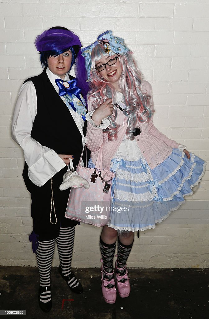 Jenny Astbury and Katie Sumner in 'Prince Style' and 'Sweet Lolita' fashion attend Hyper Japan at Earl's Court on November 24, 2012 in London, England. Hyper Japan is the UK's biggest Japanese culture event with many of the visitors dressing as cosplay, anime and manga characters.