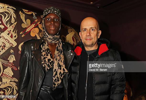 Jenny Bastet and Marc Quinn attend the Moncler 'Freeze For Frieze' Dinner Party at the Moncler Bond Street Boutique on October 7 2016 in London...