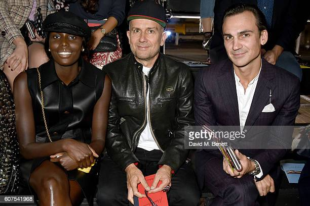Jenny Bastet Marc Quinn and Henry Lloyd Hughes attend the Mulberry Spring/Summer 2017 Show at The Printworks on September 18 2016 in London England