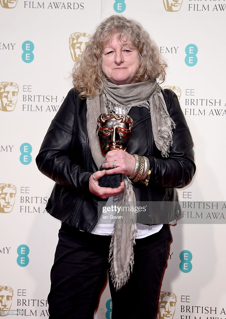 <a gi-track='captionPersonalityLinkClicked' href=/galleries/search?phrase=Jenny+Beavan&family=editorial&specificpeople=4585935 ng-click='$event.stopPropagation()'>Jenny Beavan</a> poses with the Best Costume Design Award for 'Mad Max: Fury Road' in the winners room at the EE British Academy Film Awards at the Royal Opera House on February 14, 2016 in London, England.