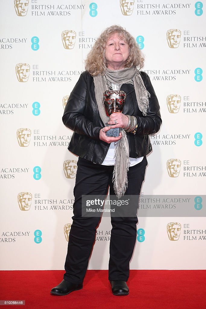 <a gi-track='captionPersonalityLinkClicked' href=/galleries/search?phrase=Jenny+Beavan&family=editorial&specificpeople=4585935 ng-click='$event.stopPropagation()'>Jenny Beavan</a> winner of Best Costume Design for 'Mad Max: Fury Road' poses in the winners room at the EE British Academy Film Awards at The Royal Opera House on February 14, 2016 in London, England.