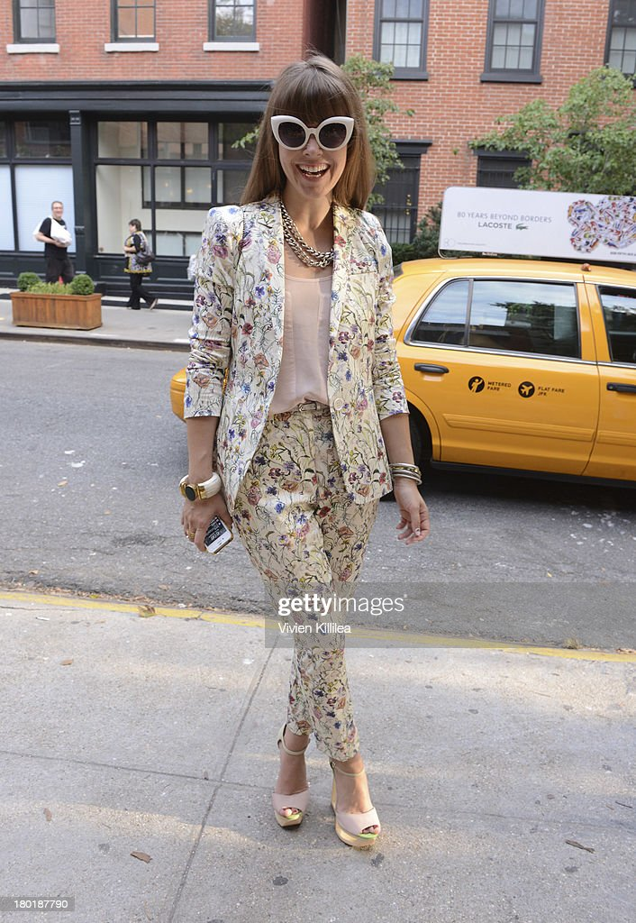 Jenny Bernheim is seen outside the Dannijo presentation during Mercedes-Benz Fashion Week Spring 2014 at Industria Studios on September 9, 2013 in New York City.