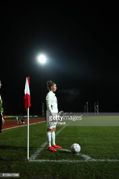 Jenny Beyer of Germany in action during the U16 Girls international friendly match betwwen Denmark and Germany at the Skive Stadion on November 6...