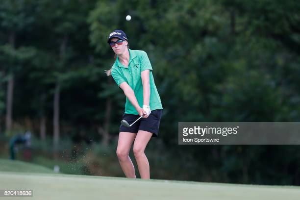 Jenny Coleman chips onto the 18th green during the first round of the LPGA Marathon Classic presented by Owens Corning on July 20 2017 and OI at...