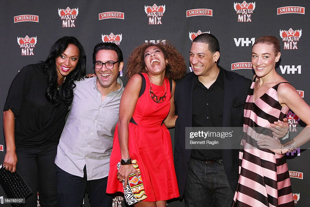 Jenny Costa, Ben Maddahi, Amanda Seales, <a gi-track='captionPersonalityLinkClicked' href=/galleries/search?phrase=Kid+Capri&family=editorial&specificpeople=577470 ng-click='$event.stopPropagation()'>Kid Capri</a>, and Mia Moretti attend the 'Masters Of The Mix' Season 3 Premiere at Marquee on March 27, 2013 in New York City.