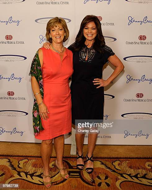 Jenny Craig CEO Patti Larchet and Jenny Craig spokesperson Valerie Bertinelli attend the CedarsSinai Sports Spectacular Women's Luncheon presented by...