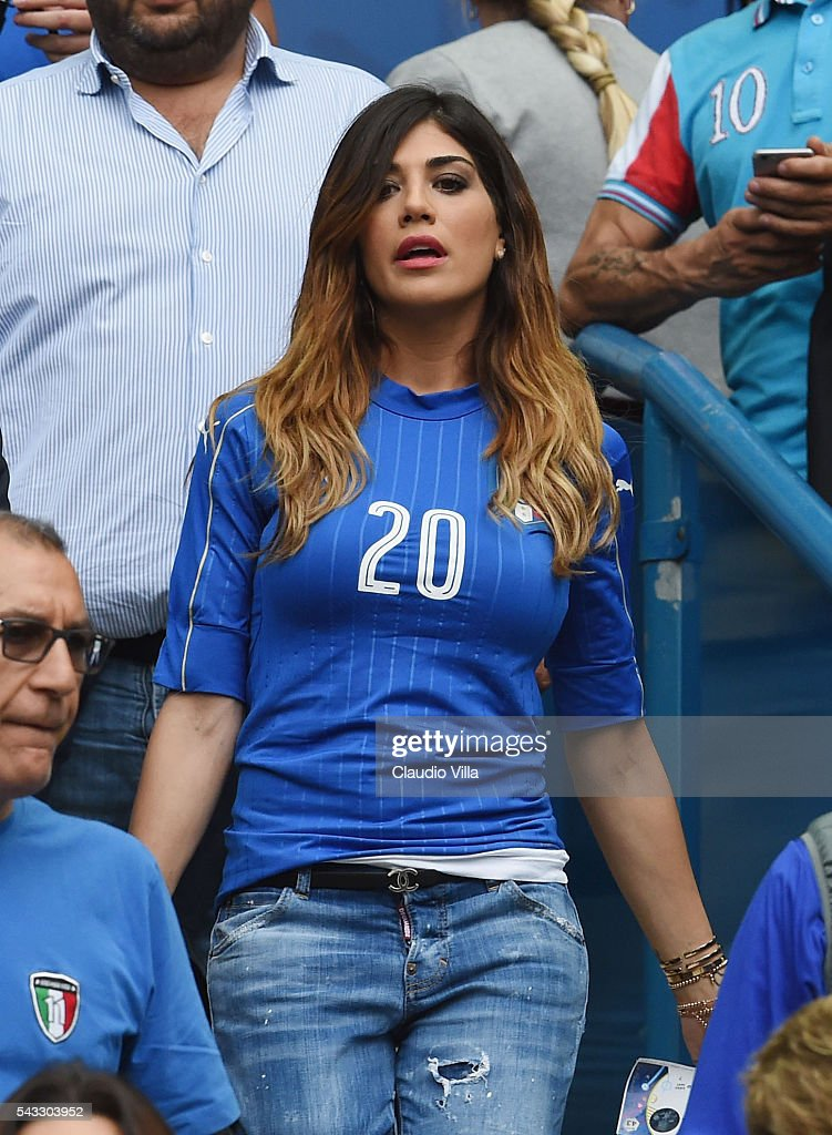Jenny Darone wife of Lorenzo Insigne of Italy looks on during the UEFA EURO 2016 round of 16 match between Italy and Spain at Stade de France on June 27, 2016 in Paris, France.
