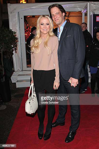 Jenny Elvers and boyfriend Steffen von der Beeck attend the Bild 'Place to B' Party during the 64th Berlinale International Film Festival on February...