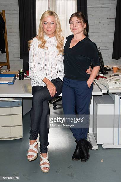 Jenny Elvers and Claudia Schmutzler attend the SOKO Wismar on set photocall at Studio Babelsberg on May 19 2016 in Berlin Germany