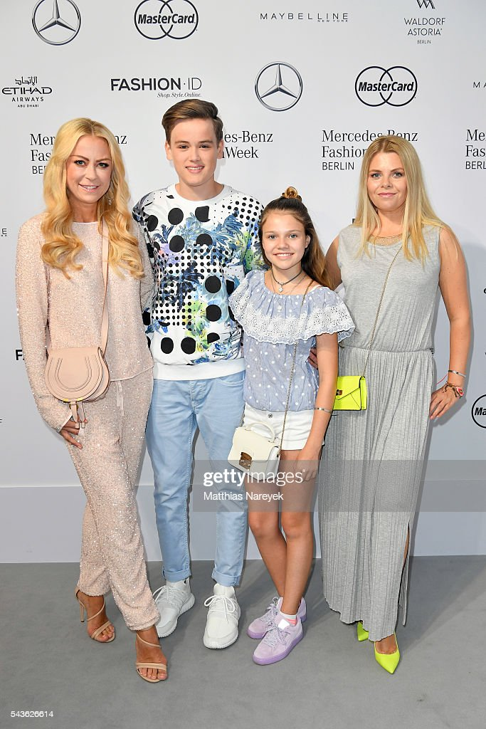 Jenny Elvers (L) and her son Paul and Anne Sophie Briest (R) and her daughter Faye Montana attend the Guido Maria Kretschmer show during the Mercedes-Benz Fashion Week Berlin Spring/Summer 2017 at Erika Hess Eisstadion on June 29, 2016 in Berlin, Germany.