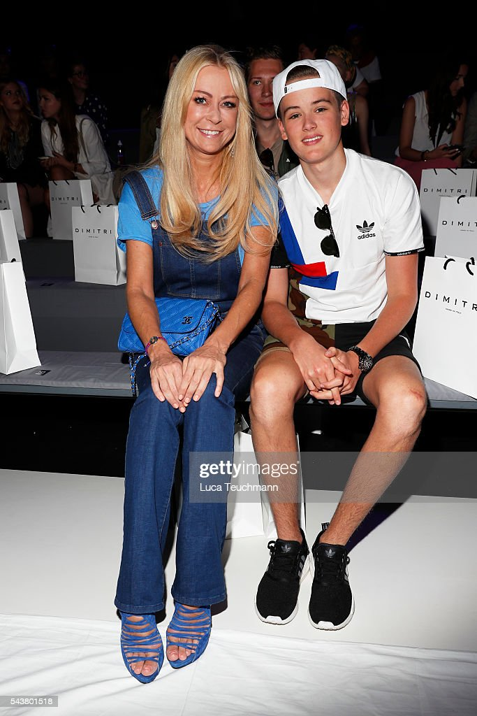 Jenny Elvers and her son Paul Jolig attend the Dimitri show during the Mercedes-Benz Fashion Week Berlin Spring/Summer 2017 at Erika Hess Eisstadion on June 30, 2016 in Berlin, Germany.