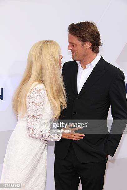Jenny Elvers and Steffen von der Beeck attend the Bertelsmann Summer Party 2015 at the Bertelsmann representative office on June 18 2015 in Berlin...