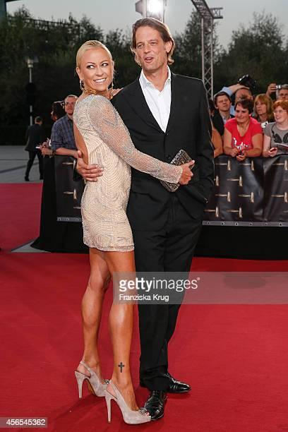 Jenny Elvers and Steffen von der Beeck attend the red carpet of the Deutscher Fernsehpreis 2014 on October 02 2014 in Cologne Germany
