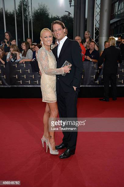 Jenny Elvers and Steffen von der Beeck attend the red carpet of the Deutscher Fernsehpreis 2014 at Coloneum on October 2 2014 in Cologne Germany