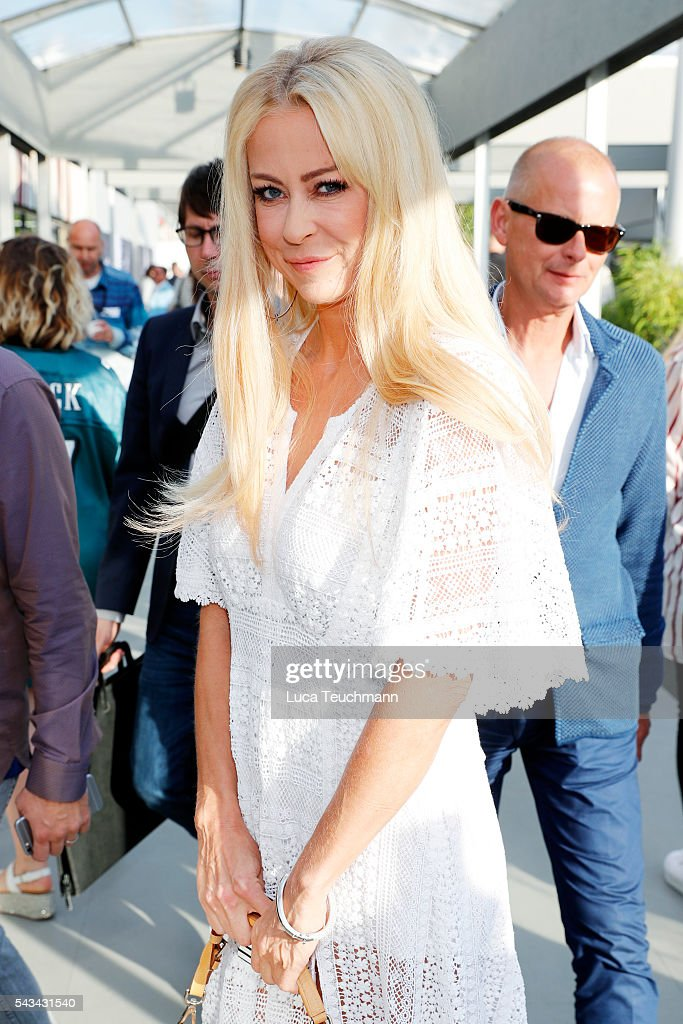 Jenny Elvers attends the Riani show during the Mercedes-Benz Fashion Week Berlin Spring/Summer 2017 at Erika Hess Eisstadion on June 28, 2016 in Berlin, Germany.