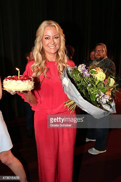 Jenny Elvers celebrates her 43rd birthday during the premiere for the film 'Abschussfahrt' at Mathaeser Filmpalast on May 11 2015 in Munich Germany