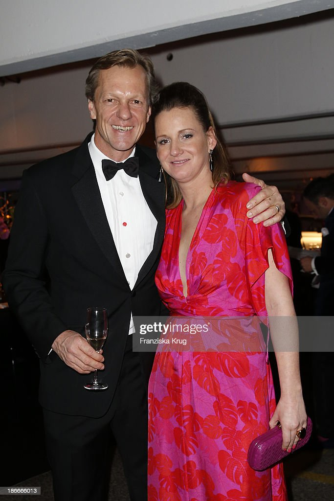 Jenny Falckenberg and her husband Buedi Blunck attend the Dom Perignon Balloon Venus by Jeff Koons at Alsterhaus on November 02, 2013 in Hamburg, Germany.
