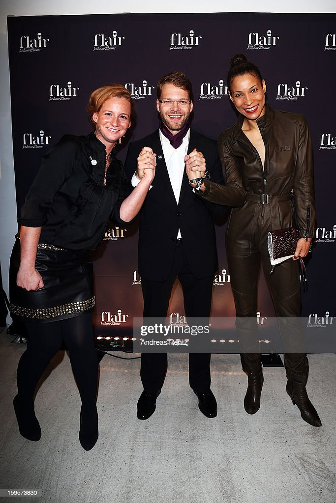 Jenny Falckenberg, Kai Rose and Annabelle Mandeng attend Flair Magazine Party at Pariser Platz 4 on January 15, 2013 in Berlin, Germany.