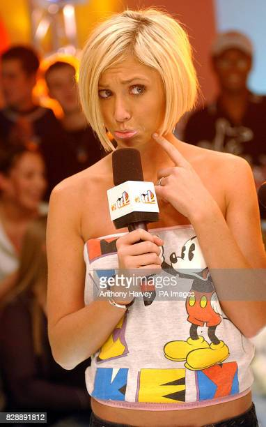 Jenny Frost from Atomic Kitten during their guest appearance on MTV's TRL UK at the MTV Studios in Camden north London The girls are currently...