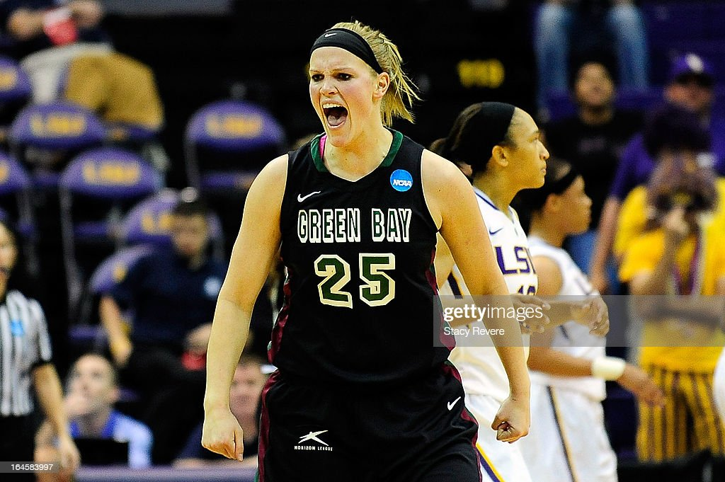 Jenny Gilbertson #25 of the Green Bay Phoenix reacts to a three point shot against the LSU Tigers during the first round of the NCAA Tournament at the Pete Maravich Assembly Center on March 24, 2013 in Baton Rouge, Louisiana.