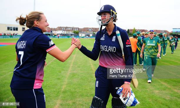 Jenny Gunn and Laura Marsh of England celebrate victory during the ICC Women's World Cup 2017 SemiFinal match between England and South Africa at The...