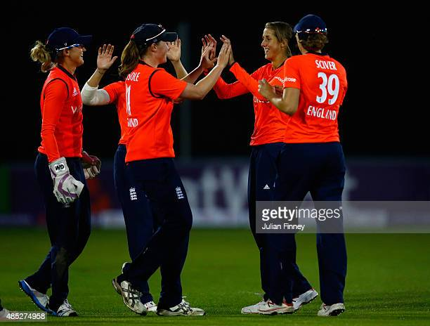 Jenny Gunn of England celebrates taking a wicket during the 1st Natwest T20 of the Women's Ashes Series between England and Australia Women at The...