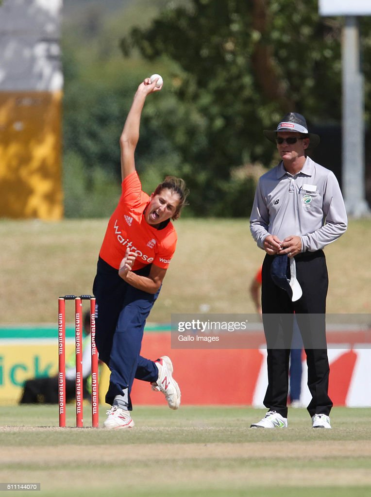 Jenny Gunn of England during the 1st T20 International match between South African Women and England Women at Boland Park on February 18 2016 in...