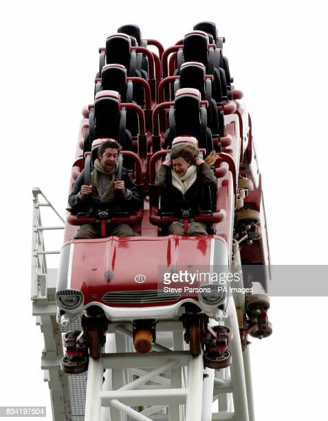 Jenny Harrold from Folkestone proposes to her boyfriend Patrick Hyde from Cambridge at the top of the Stealth roller coaster at Thorpe Park in west...