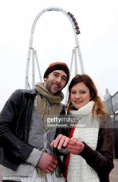 Jenny Harrold from Folkestone proposes to her boyfriend Patrick Hyde from Cambridge at the top of the Stealth rollercoaster at Thorpe Park in west...