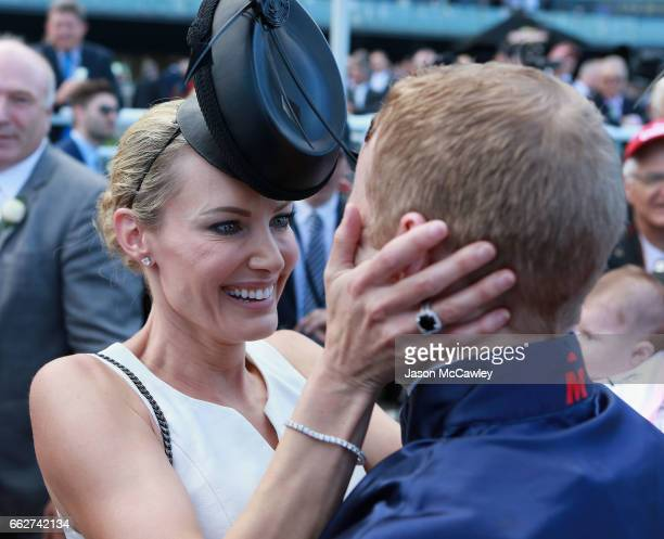 Jenny Hawkes congratulates Tommy Berry after wining the Darley TJ Smith Stakes at The Championships Day 1 at Royal Randwick Racecourse on April 1...