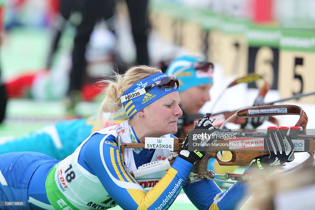 Jenny Johnsson of Sweden competes in the women's sprint during the E.ON IBU Biathlon World Cup on January 21, 2011 in Antholz-Anterselva, Italy.