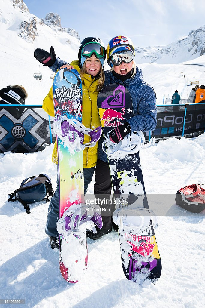 Jenny Jones and Aimee Fuller of England pose during the Slopestyle snowboard training sessions during day two of Winter X Games Europe 2013 on March 19, 2013 in Tignes, France.