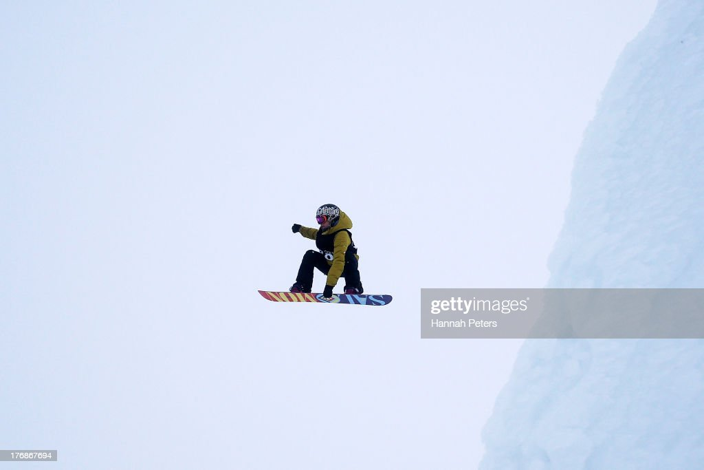 Jenny Jones of Great Britain competes during the FIS Snowboard Slopestyle World Cup Finals during day five of the Winter Games NZ at Cardrona Alpine Resort on August 19, 2013 in Wanaka, New Zealand.