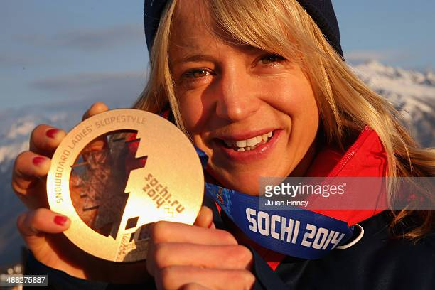 Jenny Jones of Great Britain poses with her Bronze medal a day after the Women's Snowboard Slopestyle Finals at the Extreme Park on February 10 2014...